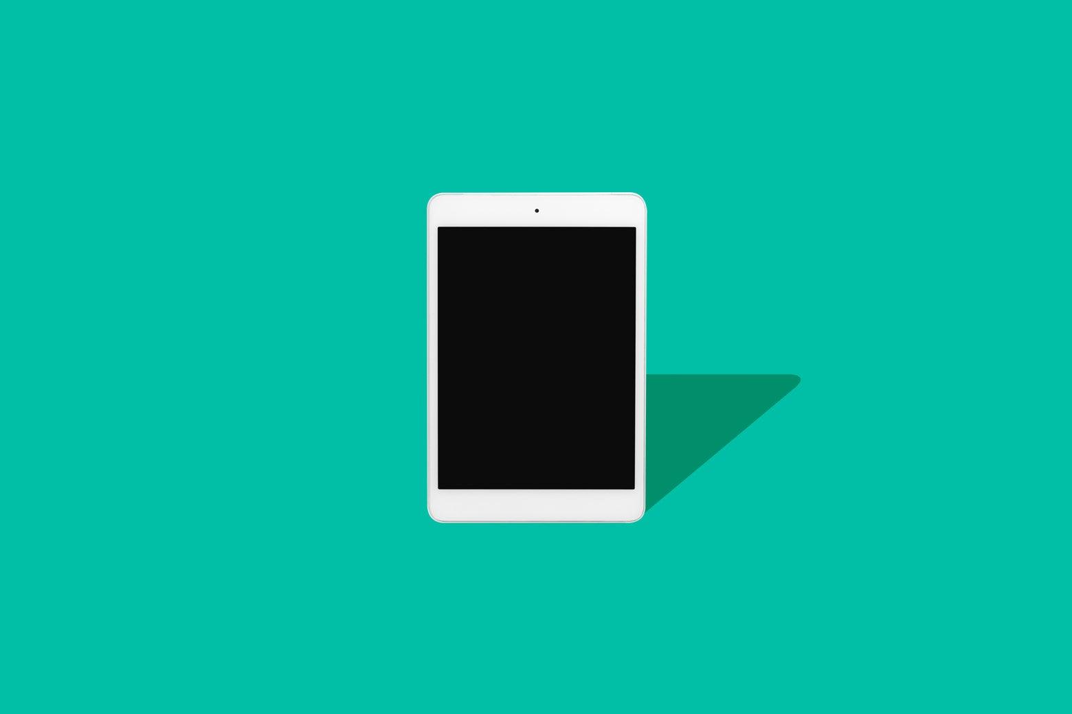 Photo illustration: an iPad.