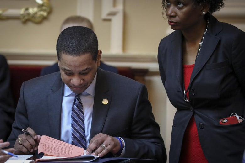 Virginia Lt. Governor Justin Fairfax reads over a document on the Senate floor at the Virginia State Capitol, February 8, 2019 in Richmond, Virginia.