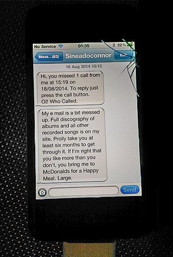 Sinead O'Connor's texts to the author.