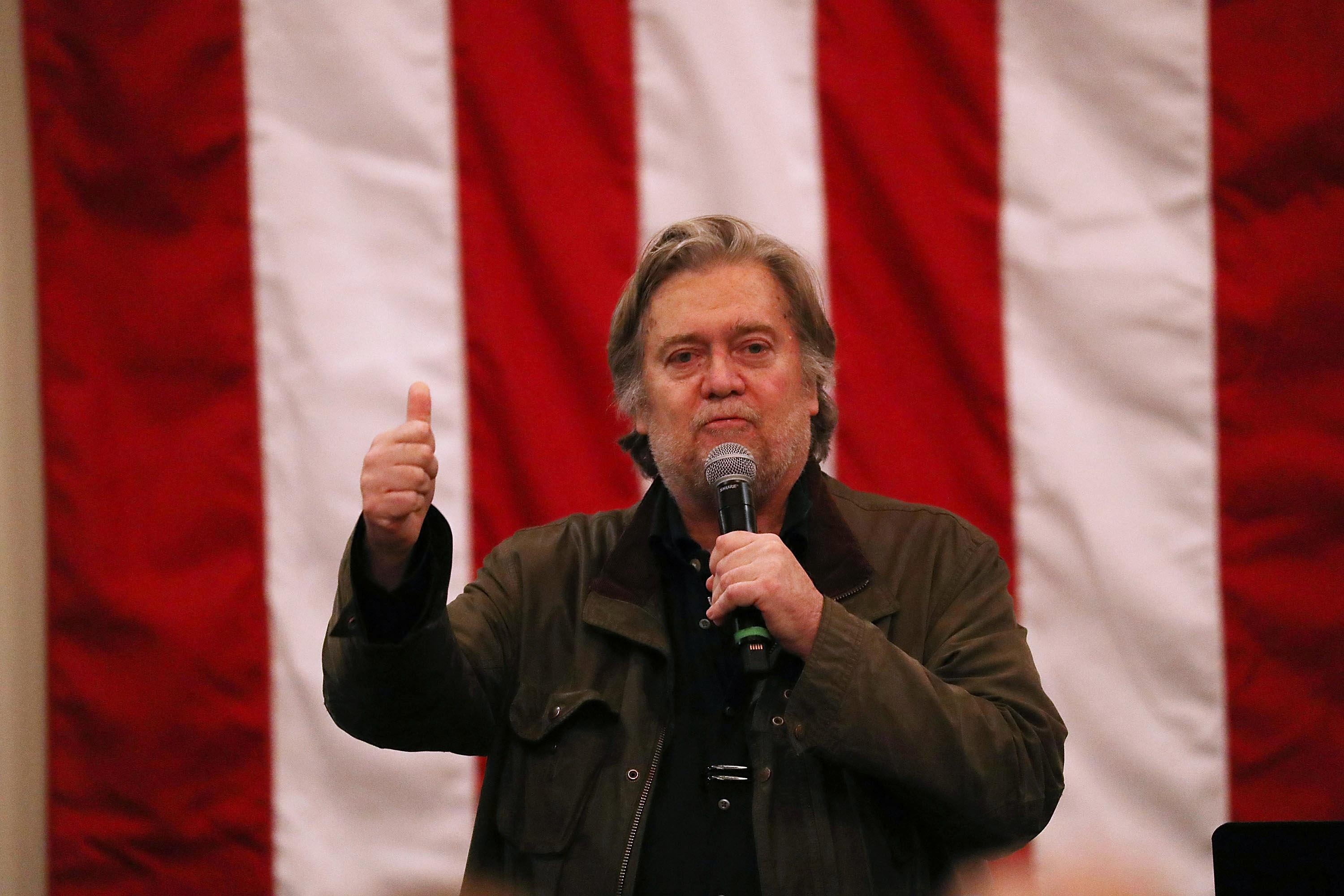 Steve Bannon speaks before the arrival of Republican Senatorial candidate Roy Moore during a campaign event at Jordan's Activity Barn on December 11, 2017 in Midland City, Alabama.