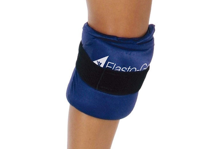 Elasto-Gel wrap around someone's knee.