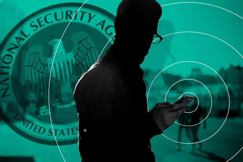 "Photo illustration of a silhouetted man holds a smartphone with a visible ""signal"" that is being picked up by the National Security Agency."