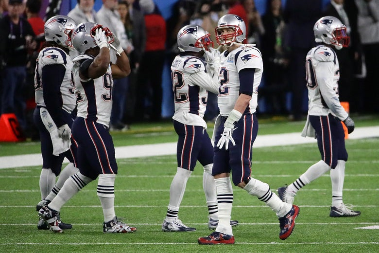 MINNEAPOLIS, MN - FEBRUARY 04:  Tom Brady #12 of the New England Patriots and teammates react after having the ball stripped by Brandon Graham #55 of the Philadelphia Eagles late in the fourth quarter in Super Bowl LII at U.S. Bank Stadium on February 4, 2018 in Minneapolis, Minnesota.  (Photo by Jonathan Daniel/Getty Images)