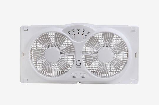 Genesis Twin Window Fan With 9-Inch Blades.
