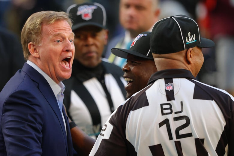 Roger Goodell yukking it up with some NFL referees.