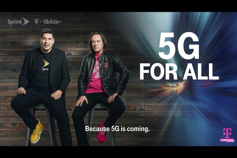 Screenshot of the Sprint/T-Mobile 5G commercial.