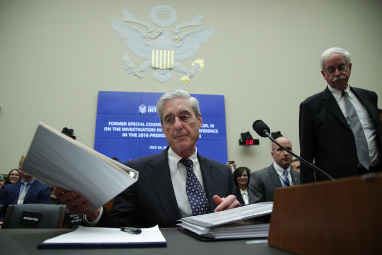 Former Special Counsel Robert Mueller waits to testify before the House Intelligence Committee about his report on Russian interference in the 2016 presidential election in the Rayburn House Office Building July 24, 2019 in Washington, D.C.