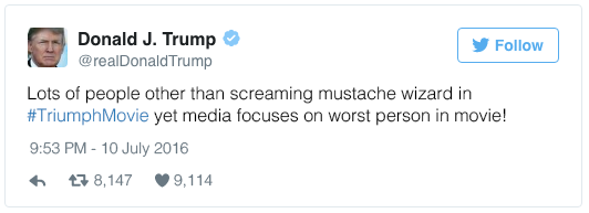 Lots of people other than screaming mustache wizard in #TriumphMovie yet media focuses on worst person in movie!