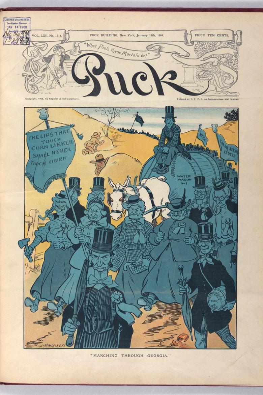 Cartoon mocking marching suffragists