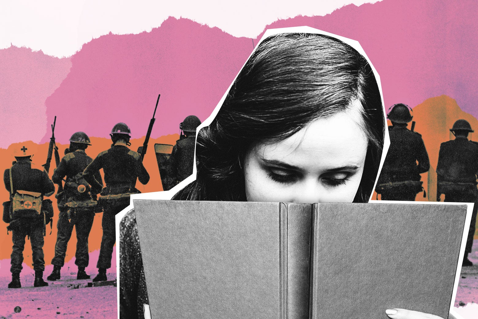 A girl with her nose in a book while soldiers fight behind her.