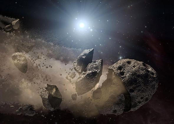 Illustration of a disintegrating asteroid.