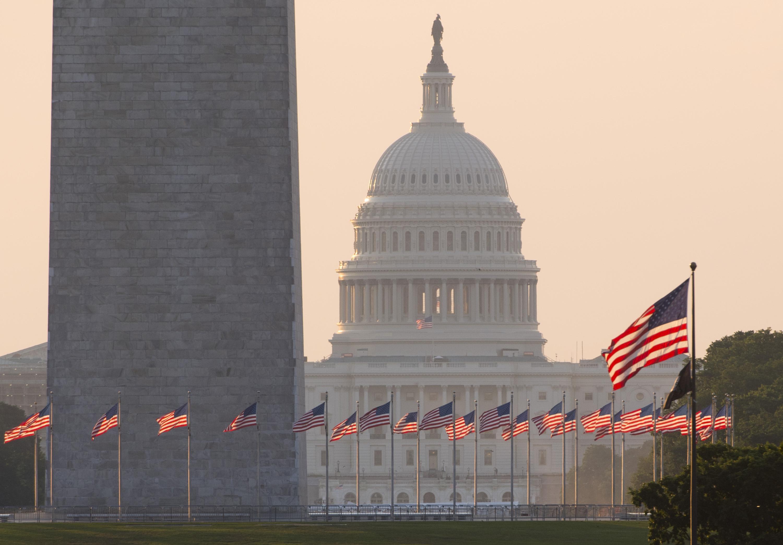 The U.S. Capitol and the Washington Monument at sunrise.