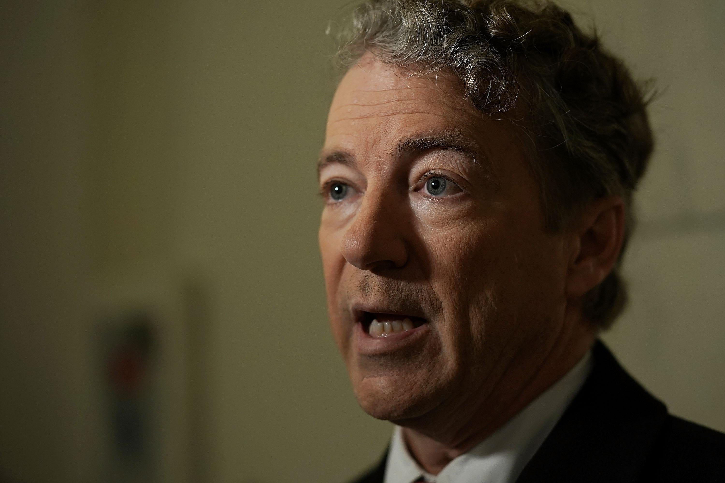 WASHINGTON, DC - FEBRUARY 08:  U.S. Sen. Rand Paul (R-KY) participates in a TV interview outside his office at Russell Senate Office Building on Capitol Hill February 8, 2018 in Washington, DC. Sen. Paul made a move to block a budget deal Thursday as the government will run out of funding at midnight for seeking to vote on an amendment to restore budget caps.  (Photo by Alex Wong/Getty Images)