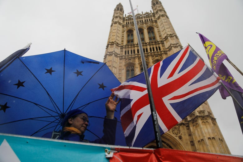 Demonstrators near the Houses of Parliament in Westminster on Oct. 17, 2019.