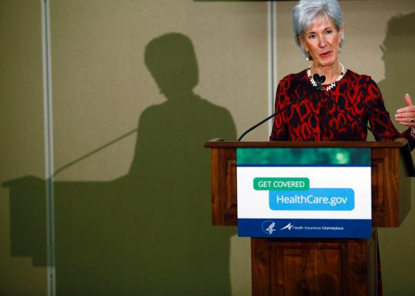 Kathleen Sebelius speaks in Detroit.