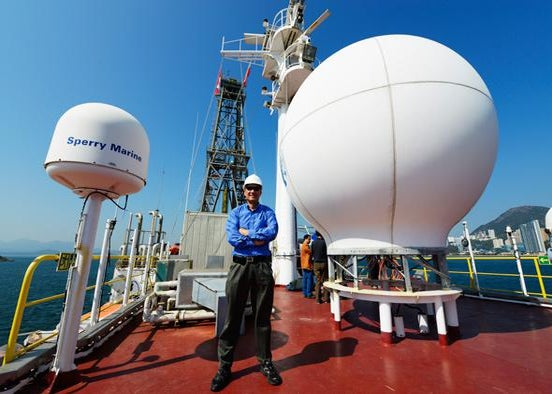 Jian Lin on the JOIDES Resolution drill ship in the South China Sea.