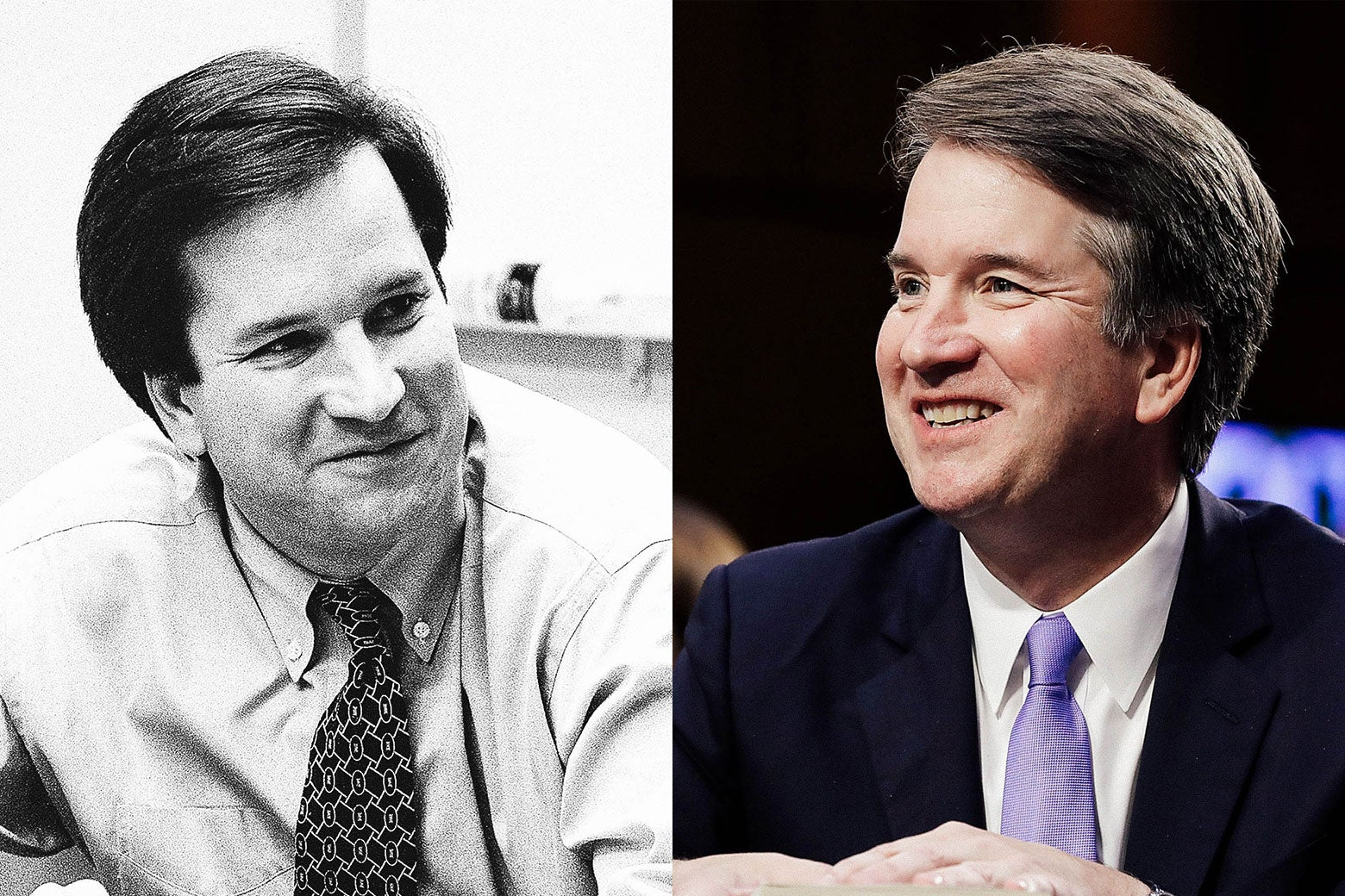 Kavanaugh photographed in 1996 and 2018.