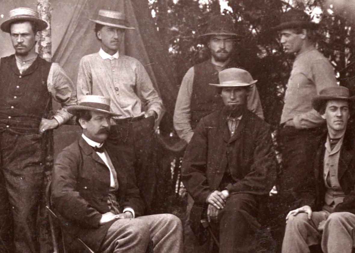 Thomas T. Eckert, seated on the left, with six telegraph assistants near Petersburg, Virginia, 1864, from James E. Taylor