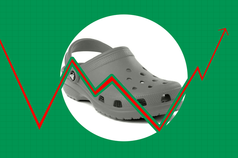 Croc shoe behind an arrow showing stock market fluctuation