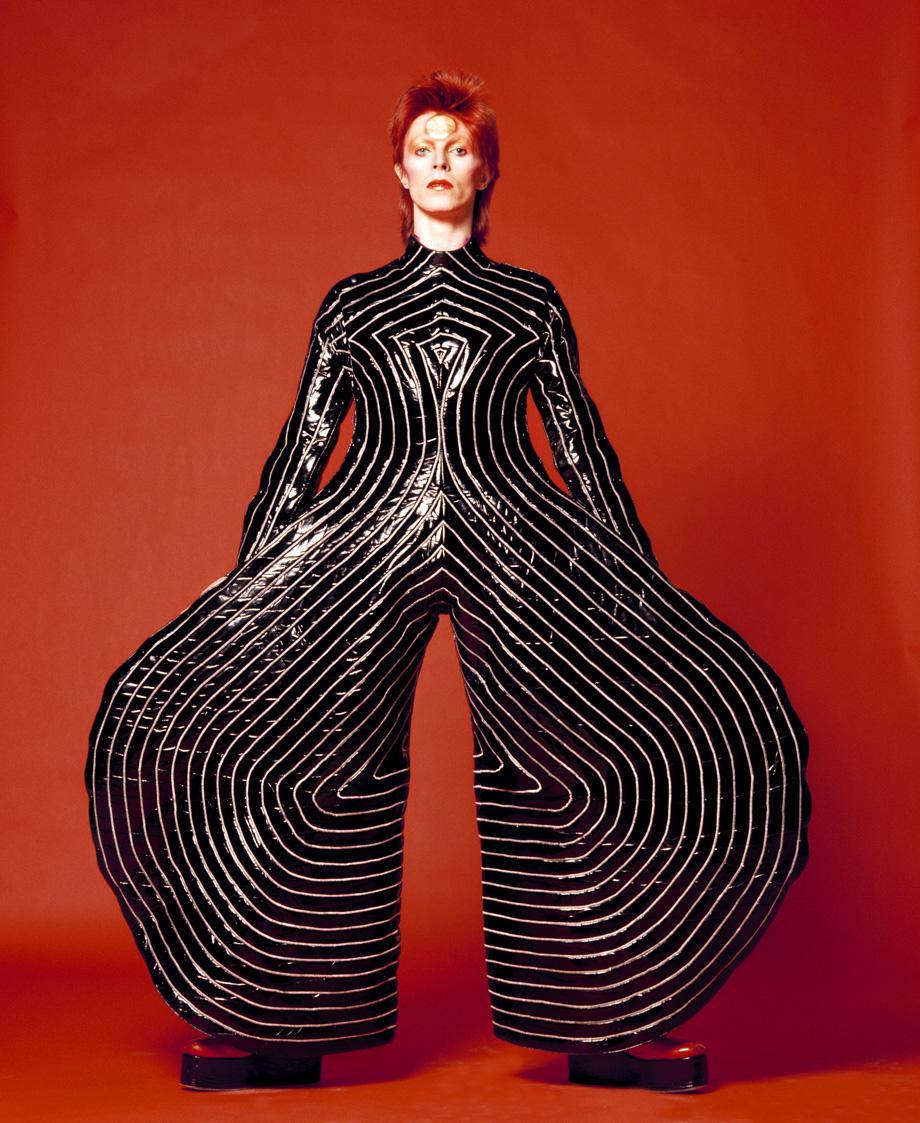 Striped bodysuit for Aladdin Sane tour, 1973 Design by Kansai Yamamoto.