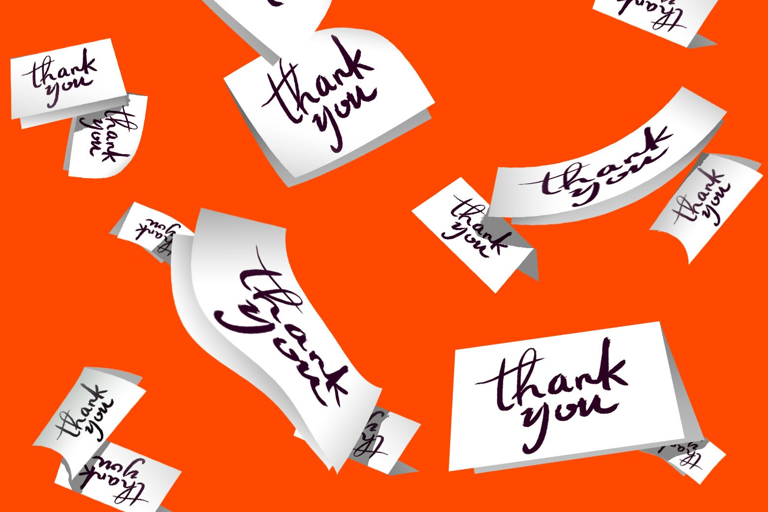 Thank you notes flying through the air.