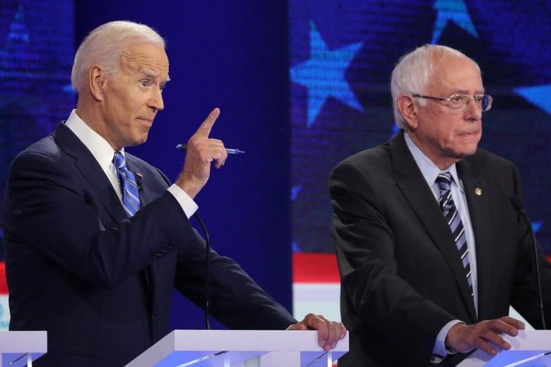 Joe Biden and Bernie Sanders at the Democratic debate.