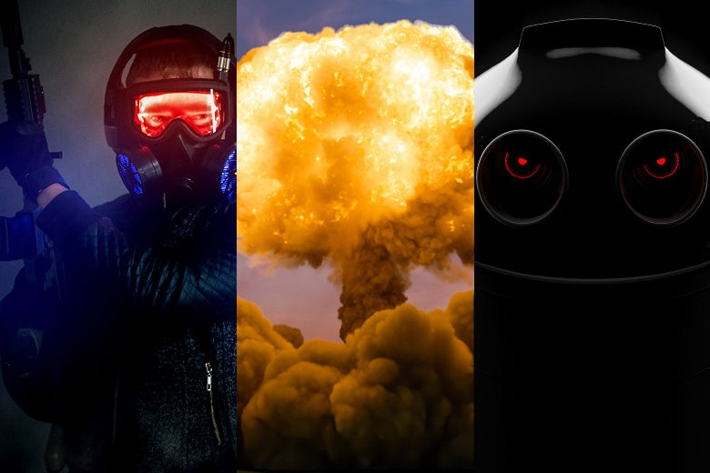 A guy with a large gun, a mushroom cloud, and an angry robot.
