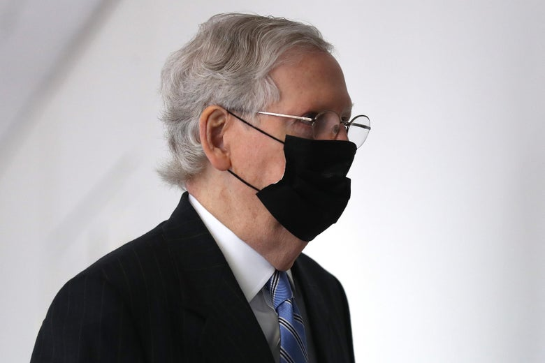 McConnell wearing a mask