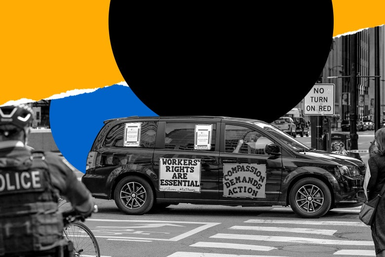 """A car covered in signs that read """"Workers' Rights Are Essential"""" and """"Compassion Demands Action"""" drives down a city street"""