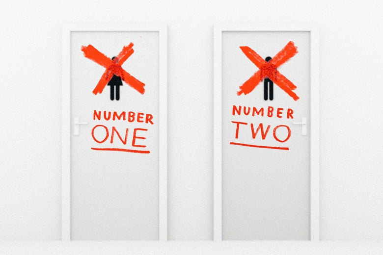 "Photo illustration: Male and Female bathroom logos crossed out and replaced with new hypothetical ""No. 1"" and ""No. 2"" logos"
