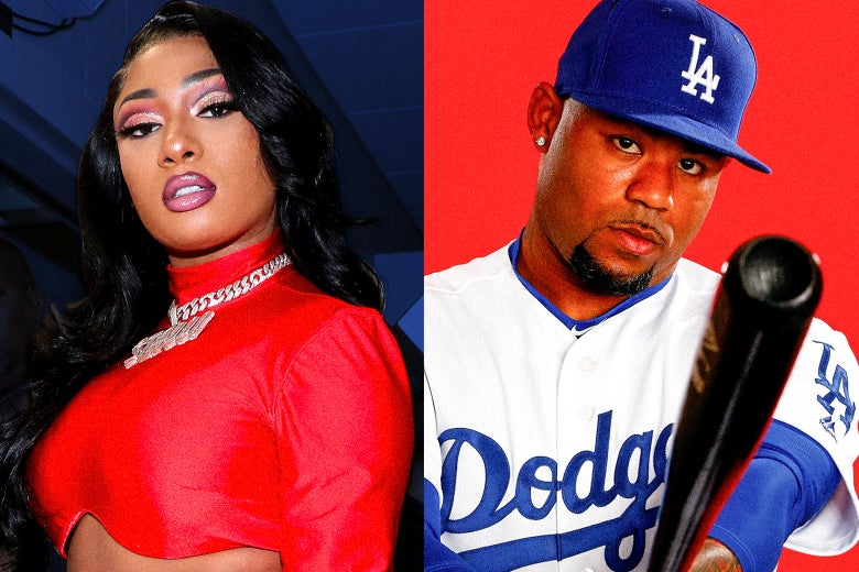Left: Megan Thee Stallion Right: Carl Crawford in his playing days with the Dodgers holding a bat and looking at the camera