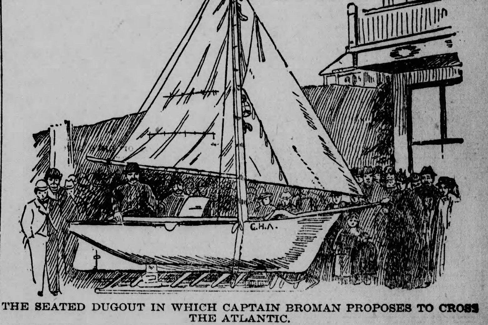 An old newspaper engraving of a crowd looking at a sailboat.