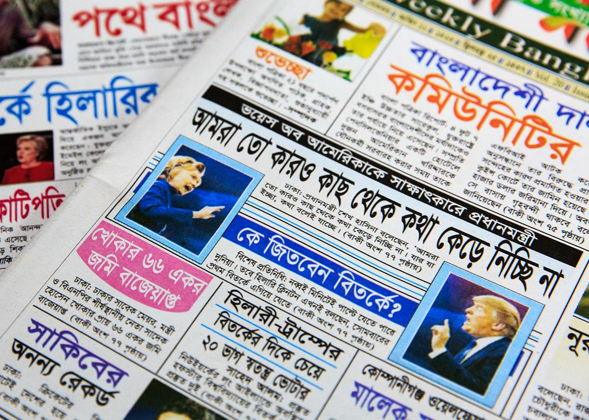 Recent newspapers are seen on Shahed Alam's desk, a reporter for Time Television who is covering the presidential debates for the station's Bangladeshi and South Asian community, at the station's office on September 30th, 2016 in Long Island City, New York.