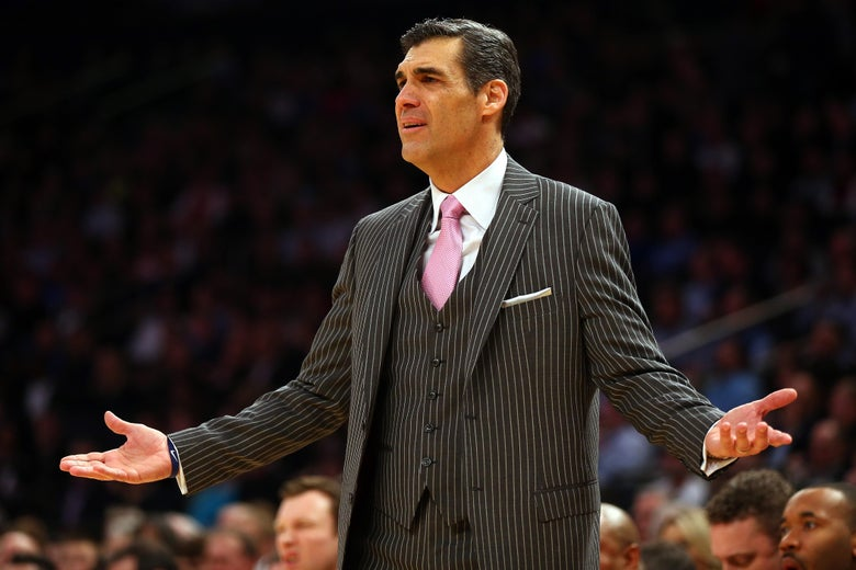 NEW YORK, NY - MARCH 13:  Head coach Jay Wright of the Villanova Wildcats reacts against the Providence Friars during a semifinal game of the Big East basketball tournament at Madison Square Garden on March 13, 2015 in New York City.  (Photo by Elsa/Getty Images)