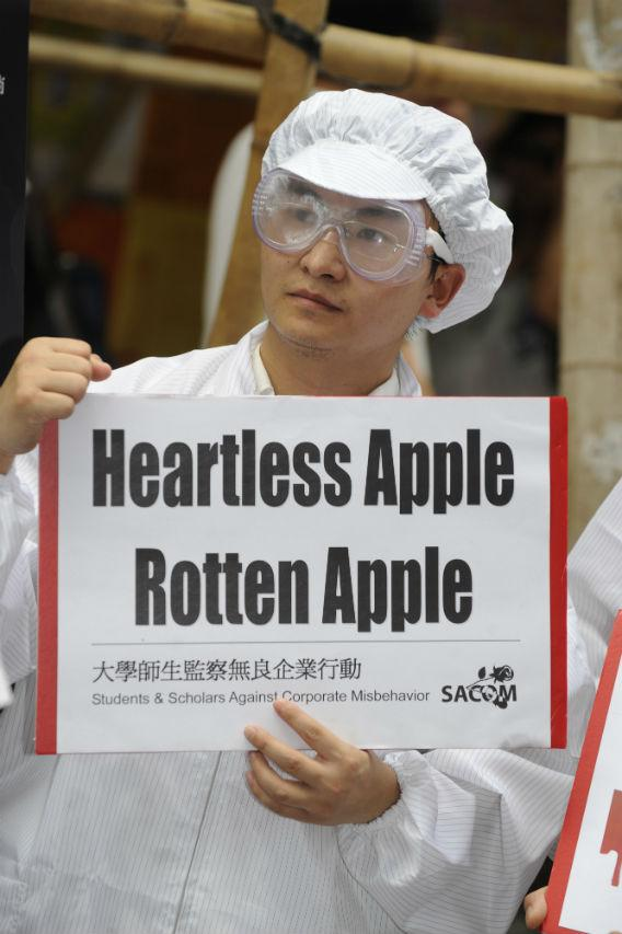 An Apple protester.