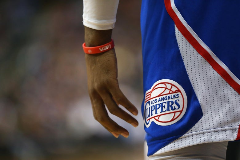 DALLAS, TX - FEBRUARY 09:  The Los Angeles Clippers logo worn by Chris Paul #3 of the Los Angeles Clippers at American Airlines Center on February 9, 2015 in Dallas, Texas.  NOTE TO USER: User expressly acknowledges and agrees that, by downloading and or using this photograph, User is consenting to the terms and conditions of the Getty Images License Agreement.  (Photo by Ronald Martinez/Getty Images)