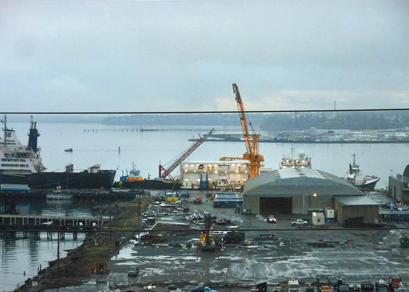 """The Arctic Challenger in December 2012, before being towed away for the second round of testing for what Shell Oil refers to as their """"fourth line"""" of defense against a well blowout in the Beaufort and Chukchi Seas in the Alaskan Arctic."""