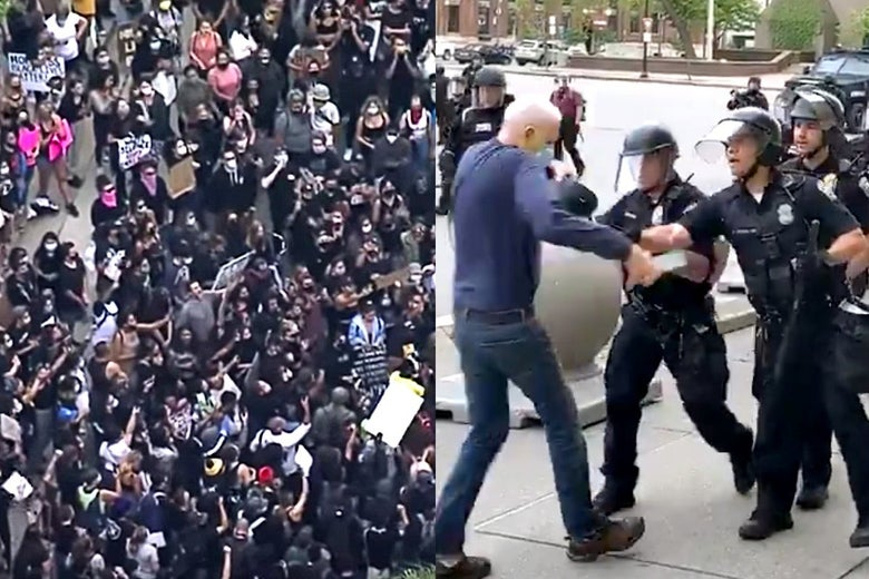 A crowd shot of protesters at left. The Buffalo PD shoving an older man at right.