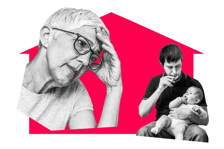 An older woman looking distressed, and a man holding a baby and smoking a cigarette.