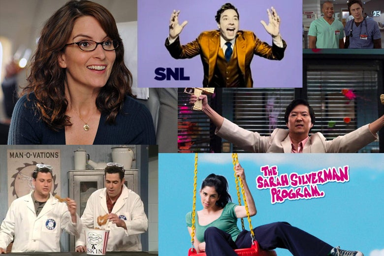 Collage of stills from 30 Rock, SNL, Community, Scrubs, The Sarah Silverman Program, and The Man Show