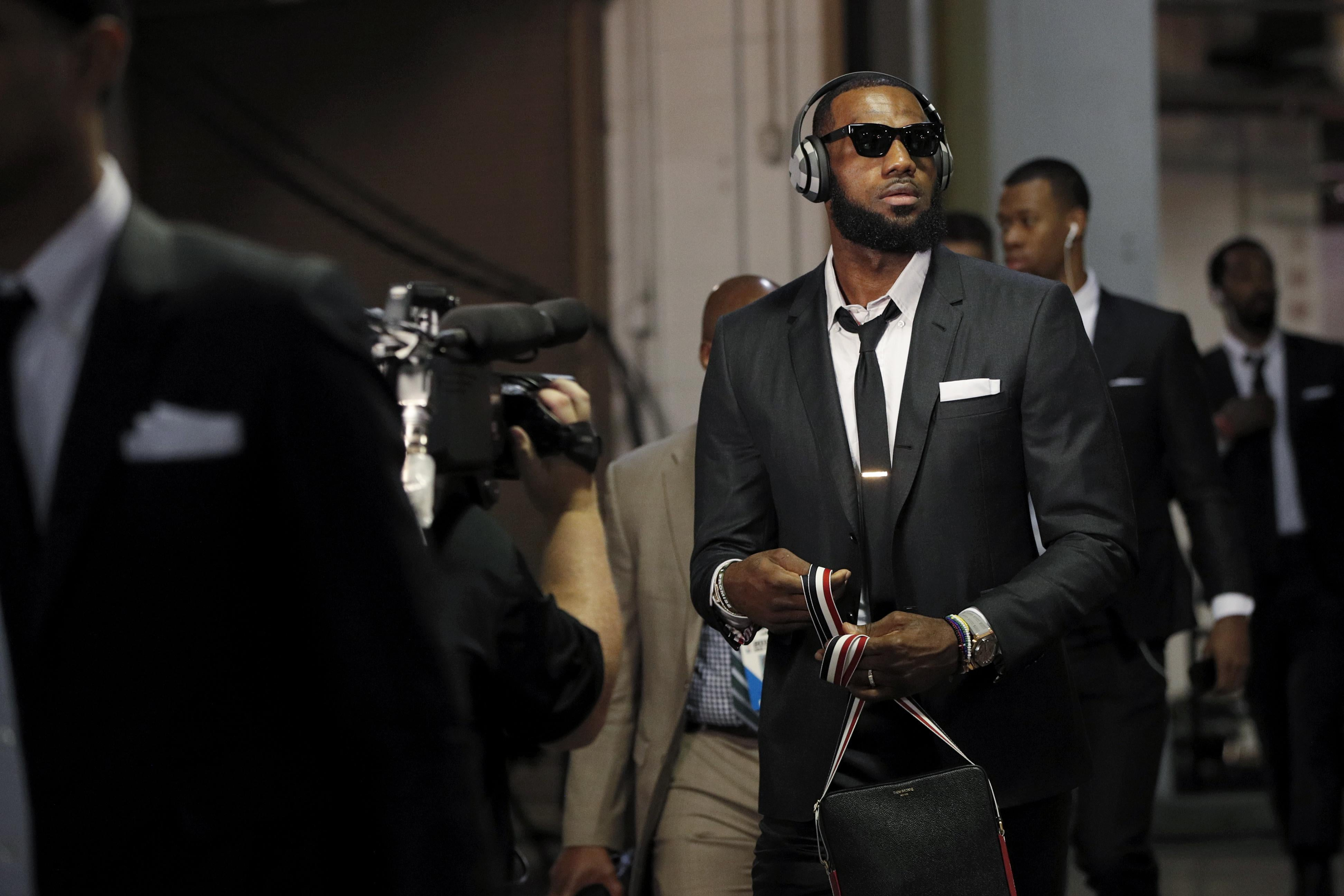 INDIANAPOLIS, IN - APRIL 22: LeBron James of the Cleveland Cavaliers arrives for game four of the NBA Playoffs against the Indiana Pacers at Bankers Life Fieldhouse on April 22, 2018 in Indianapolis, Indiana. NOTE TO USER: User expressly acknowledges and agrees that, by downloading and or using the photograph, User is consenting to the terms and conditions of the Getty Images License Agreement. (Photo by Joe Robbins/Getty Images)
