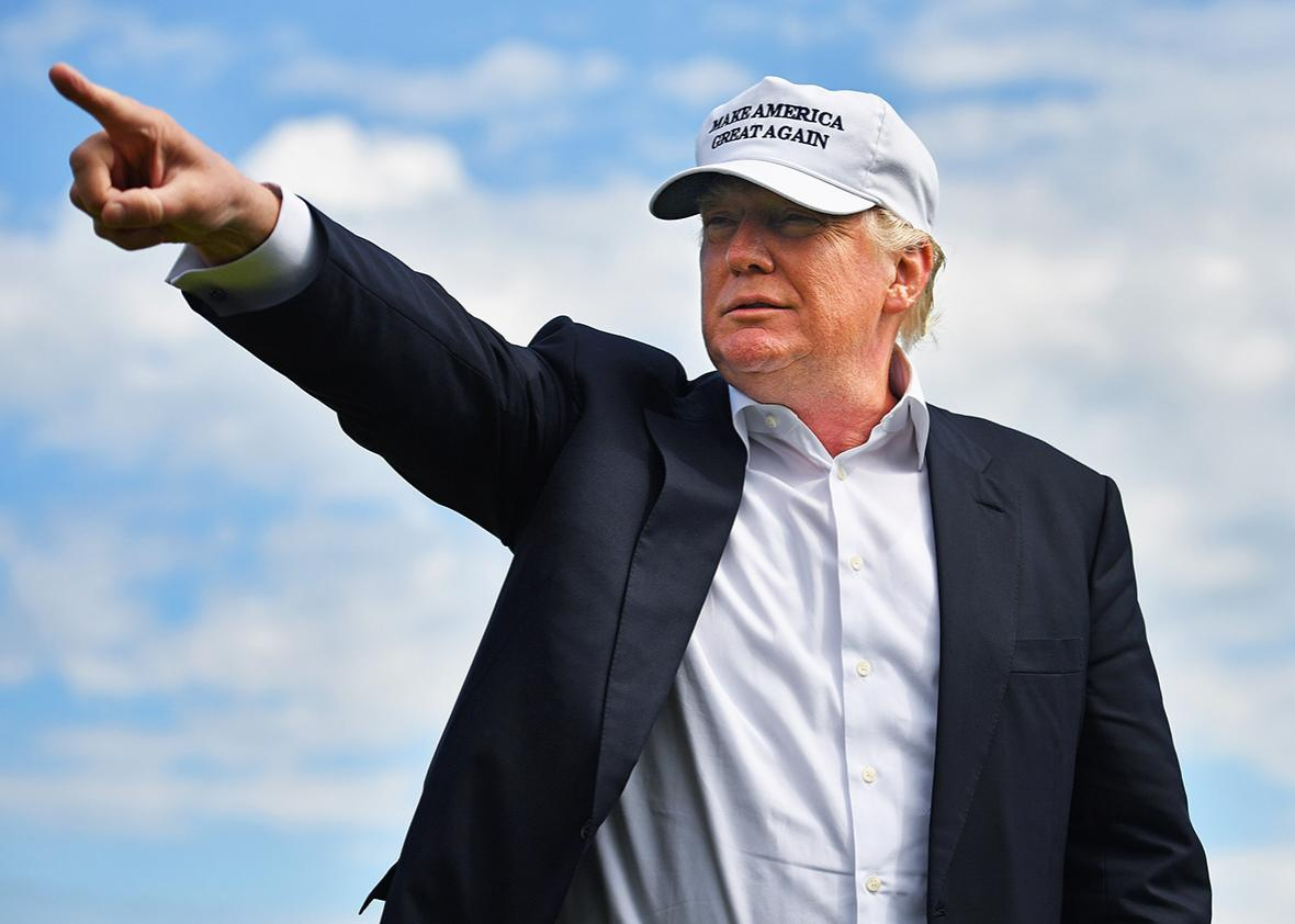 Presumptive Republican nominee for US president Donald Trump visits Trump International Golf Links on June 25, 2016 in Aberdeen, Scotland.