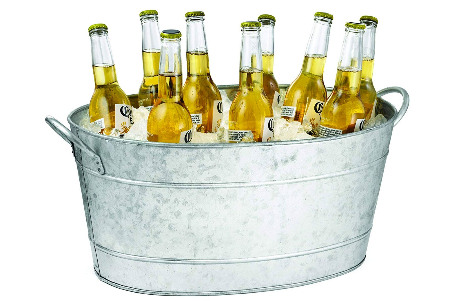 Galvanized beverage tub.