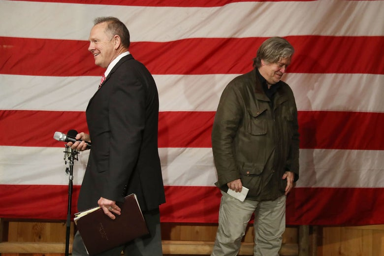 Roy Moore and Steve Bannon at a rally in Fairhope, Alabama on Dec. 5.
