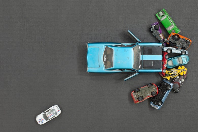 An assortment of toy cars.