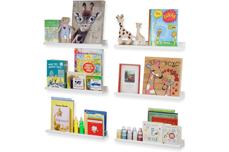 Six wall-mounted floating shelves with picture books on them