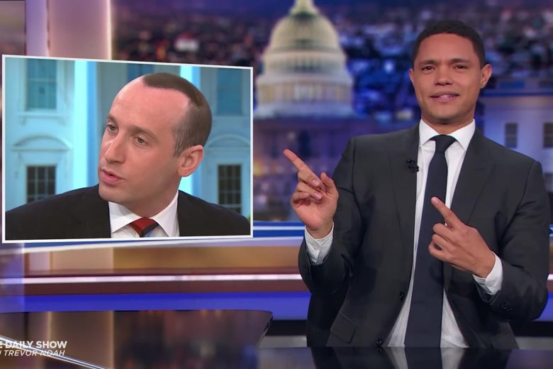 """Trevor Noah, looking in confusion at a picture of Stephen Miller's strange hairstyle. """"Srcset ="""" https://compote.slate.com/ images / bd93a552-230a-4eca-8fad-c9101a0097e0.jpeg? width = 780 & height = 520 & rect = 1620x1080 & offset = 149x0 1x, https://compote.slate.com/images/bd93a552-230a-4eca-8fad-c9101a0097e0.jpeg?width </p> <p> Comedy Central </p> </figcaption> </figure> <p class="""
