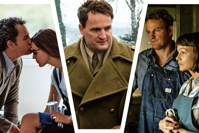 Three images of Jason Clarke in different movies.
