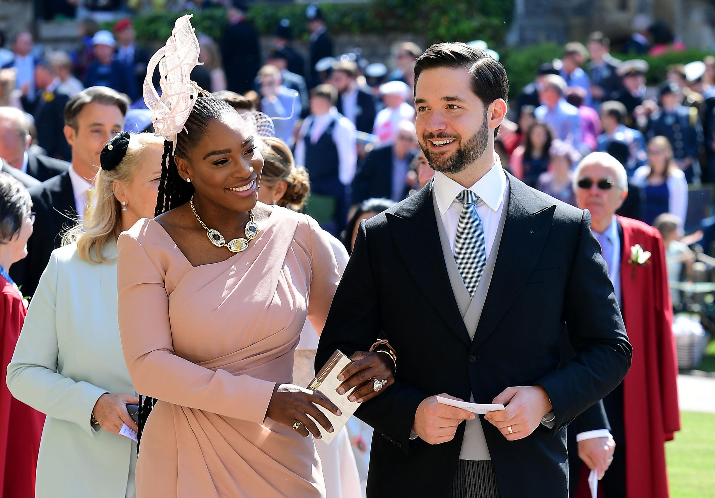 Serena Williams and her husband Alexis Ohanian arrive for the wedding ceremony of Britain's Prince Harry, Duke of Sussex and US actress Meghan Markle at St George's Chapel, Windsor Castle, in Windsor, on May 19, 2018. (Photo by Ian West / POOL / AFP)        (Photo credit should read IAN WEST/AFP/Getty Images)