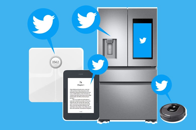 Photo illustration of objects you can tweet from: a scale, a fridge, a Roomba, a Kindle